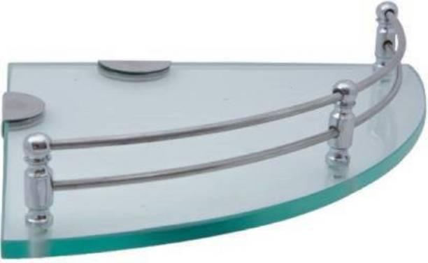 "Kaaple Clear Glass Corner (9x9"",1Pcs) for Bathroom/Kitchen/Wall Shelf/Multipurpose Storage Shelf Glass Wall Shelf"