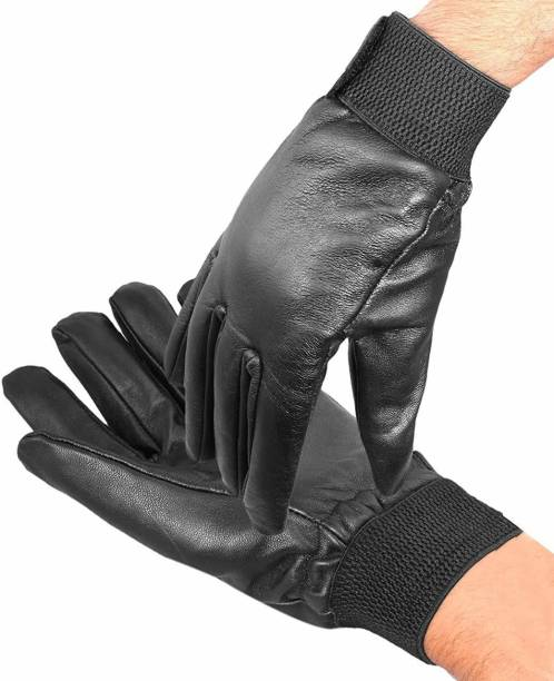 zaysoo Unisex Winter Leather Black Medium Gloves Diving Gloves