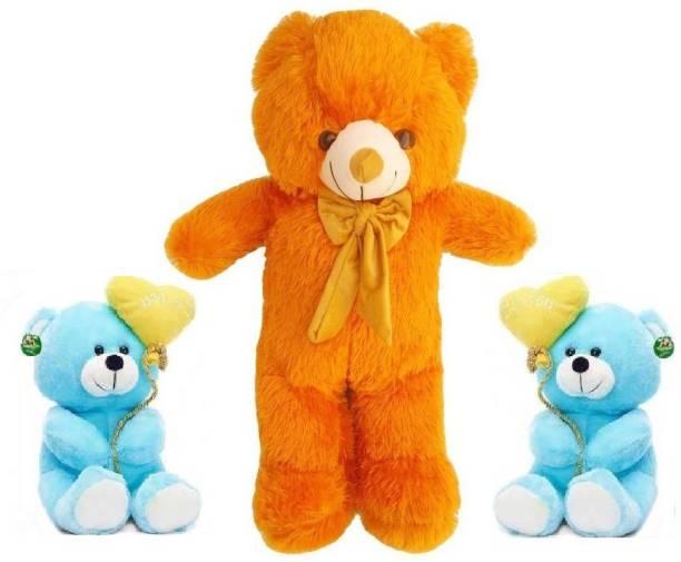 TEDDYIA 6 FEET STUFFED BROWN HUGABLE TEDDY BEAR WITH TWO CUTE BLUE I LOVE YOU TEDDIES COMBO OFFER  - 180 cm