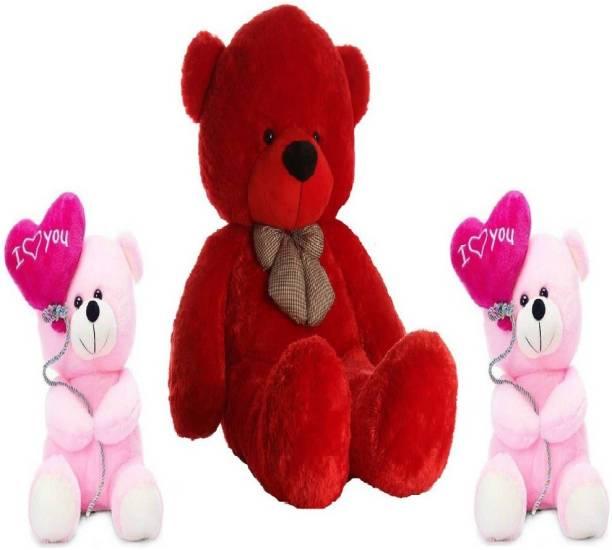 TEDDYIA 6 FEET STUFFED RED HUGABLE TEDDY BEAR WITH TWO CUTE PINK I LOVE YOU TEDDIES COMBO OFFER  - 180 cm