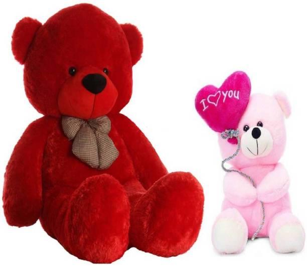 TEDDYIA 6 FEET STUFFED RED HUGABLE TEDDY BEAR WITH CUTE PINK I LOVE YOU TEDDY COMBO OFFER  - 180 cm