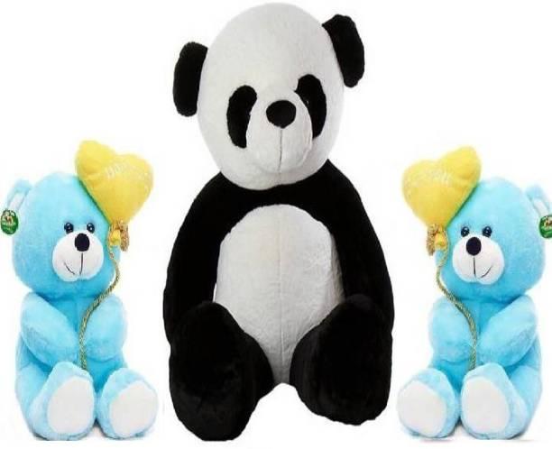 TEDDYIA 6 FEET HUGABLE PANDA WITH TWO CUTE BLUE I LOVE YOU TEDDIES COMBO OFFER  - 180 cm