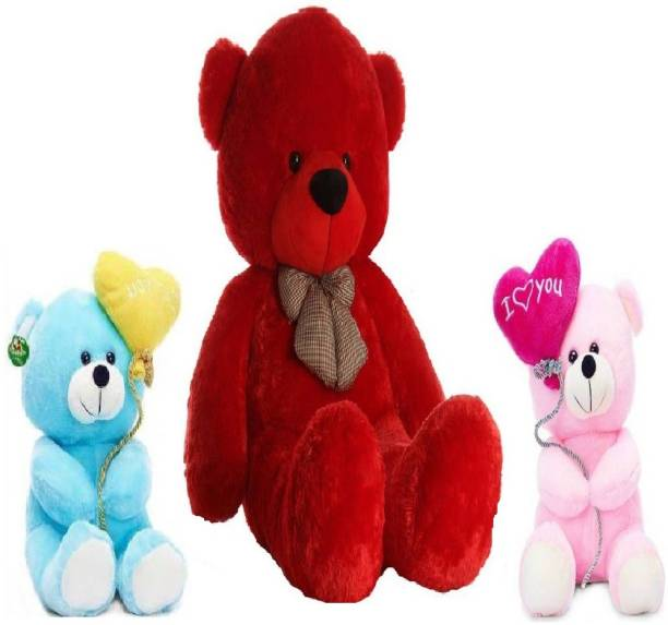 TEDDYIA 6 FEET STUFFED RED HUGABLE TEDDY BEAR WITH TWO CUTE PINK AND BLUE I LOVE YOU TEDDIES COMBO OFFER  - 180 cm
