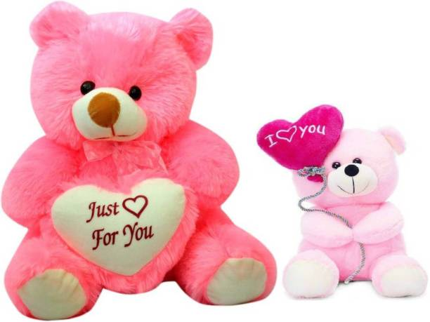 ToyKing Combo Offer 2 Feet Cute Pink Teddy Bear with Just For you Heart & 24Cm Cute Pink I Love You Balloon Teddy Bear  - 61 cm