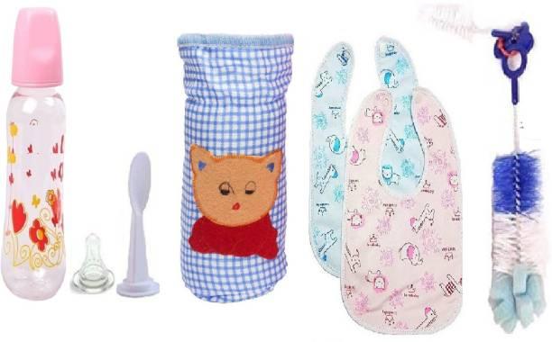 Manan Shopee Baby Feeding Kit- Feeding Bottle, Bibs, Bottle Cover & Brush (Multicolor)