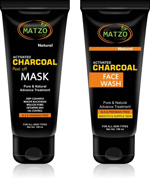 Matzo Natural Activated Charcoal Face Wash 100 ml and Peel Off Mask 100 ml Combo, SLS Free, Paraben Free