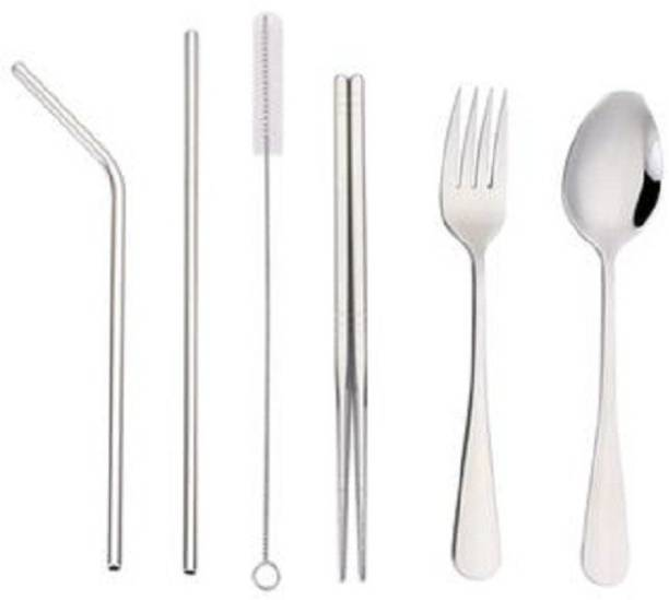 upalabdh 5 PCs Combo Dinner Set Cutlery Set Stainless Steel Eating Training Chopstick with Steel Spoon and Fruit Fork And Steel Straw with Cleaning Brush Stainless Steel Cutlery Set