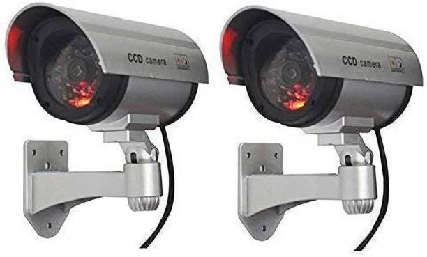 Gnexin 2 Pcs Security CCTV False Outdoor CCD Camera Fake Dummy Security Camera Waterproof IR Wireless Blinking Flashing Combo Security Camera