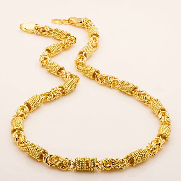 Fashion Frill Stylish Heavy Golden Neck Men Chain Gold-plated Plated Brass Chain Set