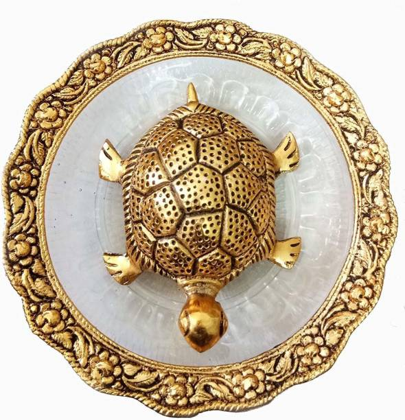 salvusappsolutions Metal Glass Golden Kachua Plated Feng Shui Tortoise Turtle Plate Yantra Vastu Feng Sui Puja Articles Feng Shui Turtle with Golden Color Plate Set-6 Inches Decorative Showpiece  -  14 cm