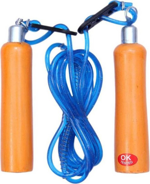 FS Super Leather Skipping Rope Weight Wood Handle Exercise Fitness Speed Jump
