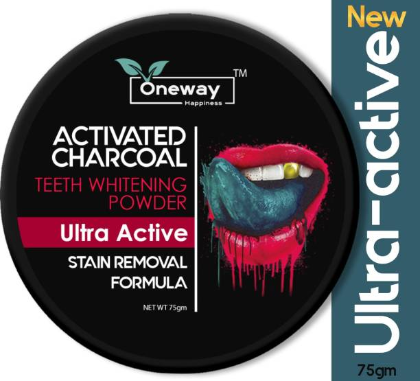 Oneway Happiness Activated Charcoal Teeth Whitening Powder with Ultra-Active Formula 75g