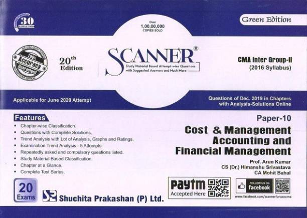 Scanner CMA Inter Group-II (2016 Syllabus) Paper-10 Cost & Management Accounting and Financial Management (Green Edition) (Edition January 2020)