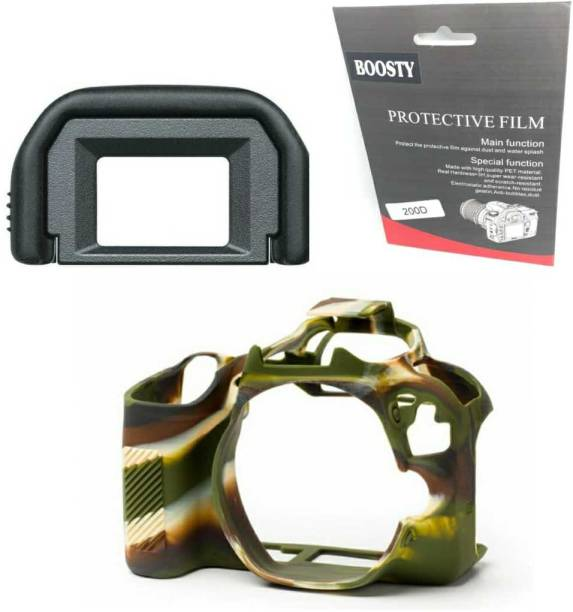 BOOSTY 3pcs COMBO for canon 200D ( Silicone Cover + EF Eyecup + Tampered Glass )  Camera Bag