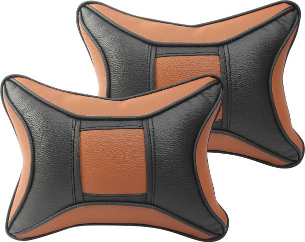 Auto Hub Black, Brown Leatherite, Cotton Car Pillow Cushion for Universal For Car