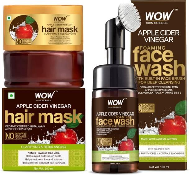 WOW SKIN SCIENCE Skin Brightening Kit - (Apple Cider Vinegar Foaming Face Wash with brush + Apple Cider Vinegar Hair Mask) 300mL