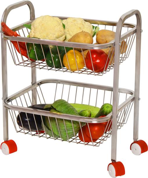 PARASNATH Mirror Finish 2 Shelf Square Vegetable and Fruit Trolley Made in India Steel Kitchen Trolley