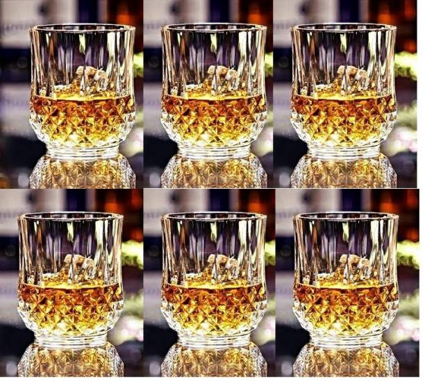 FancyCrystal (Pack of 4) Crystal Diamond,Old Fashioned Whiskey Glasses 10 Oz Rocks Barware for Scotch, Bourbon, Liquor and Cocktail Drinks Tableware Party Beverage Whiskey Glass 310 ml,Transparent Pack of 6 Glass (Glass, 310 ml, Clear, Pack of 6) Glass Set