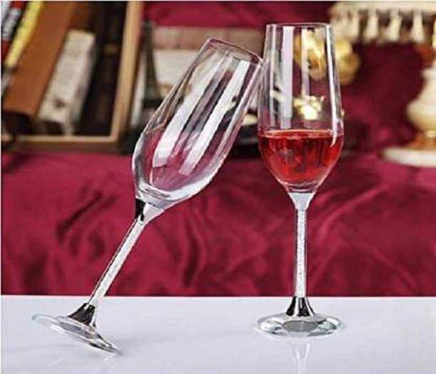 crom (Pack of 2) Crystal Wine Glass Glass Set 200 ml Glass Set