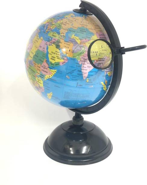 Mubco World Globe with Magnifying Glass  Educational Learning Political World Globe Desk & Table Top Political World Globe
