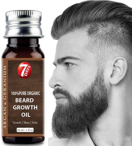 7 Days Faster beard growth oil 100% Natural Smoothening Beard Oil With Argan thyme & Geranium Hair Oil