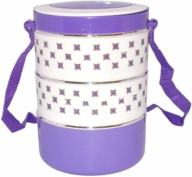 Dream Product Studio Foodie Insulated Tiffin Lunchbox 3 Container Stainless Steel Inner Adjustable with Strap Carrier Hot Fresh Food for Office, Travel, Picnic Best Gift for Birthday Party (Purple) 3 Containers Lunch Box