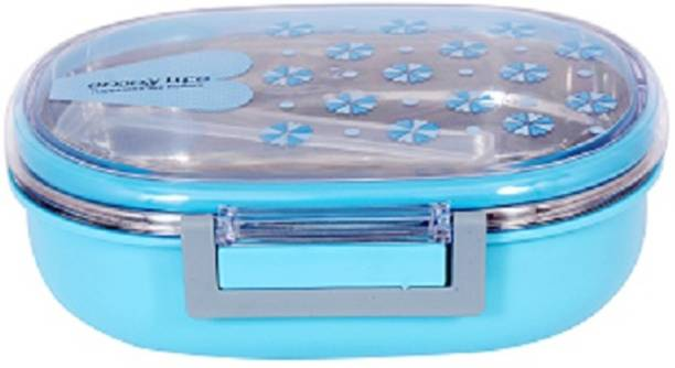 AKR HOT TIFFIN BOX WITH CONTAINER , SIDE LOCK , RUBBER RING STAINLESS STEEL LUNCH BOX (500 ML) 1 Containers Lunch Box