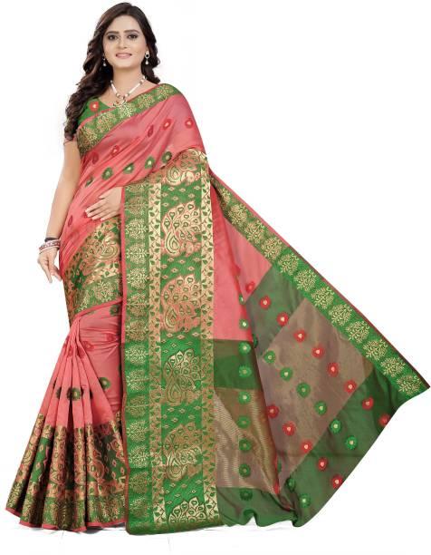 Cartyshop Self Design Banarasi Silk Blend, Cotton Blend Saree