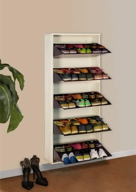 Delite Kom 24 Inches wide Jumbo Five Door Double Decker Powder Coated Wall Mounted Metallic Ivory Coffee Metal Shoe Rack