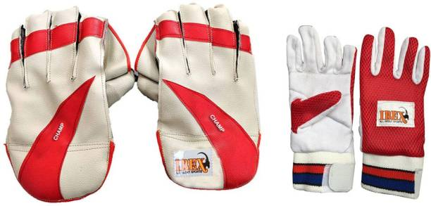 IBEX Champ Wicket Keeping Gloves Combo with Red Inner (Multicolor) Wicket Keeping Gloves