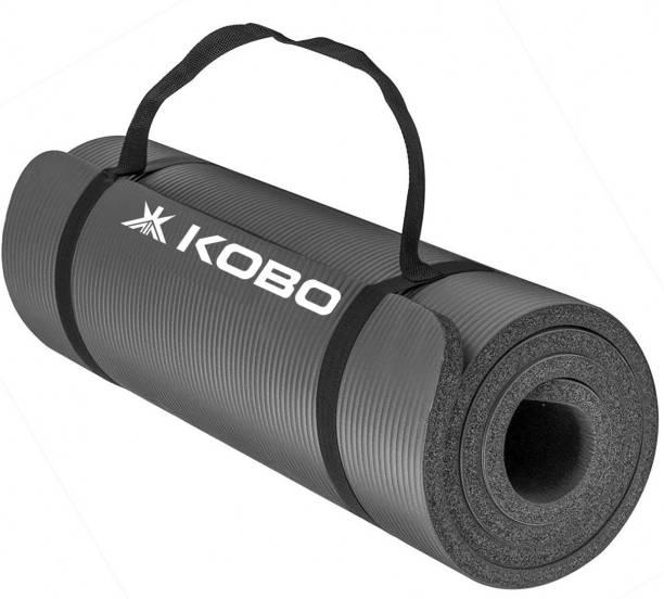 KOBO 15 mm NBR Athletica Multi-use Thick Exercise , Non-slip Anti-tear for Hot Yoga Grey 15 mm Yoga Mat