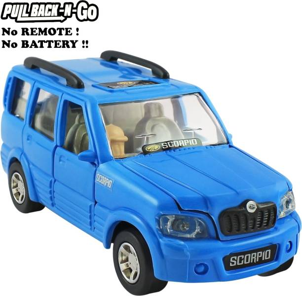 Shinsei Pull Back Mahindra Scorpio | Opening Doors | Miniature Scaled Models || Dinky Cars | - Blue Colour