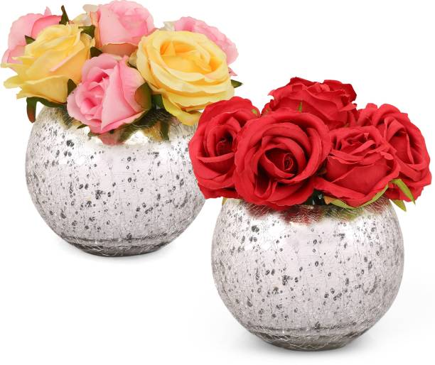 TIED RIBBONS flower Multicolor Rose Artificial Flower  with Pot