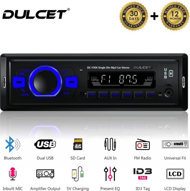 DULCET DC-F30X Car Stereo with Dual USB Ports/Bluetooth/Hands Free Calling/FM/AUX Input/SD Card Slot/Remote Control/ LCD Display/ID3 with EQ/Bass/Treble/Balance & Fader Control Car Stereo