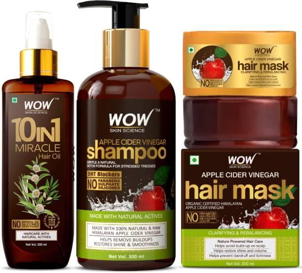 WOW SKIN SCIENCE Lush & Lustrous Hair Kit - (10 in 1 Miracle Hair Oil + Apple Cider Vinegar Shampoo + Apple Cider Vinegar Shampoo Hair Mask)700mL