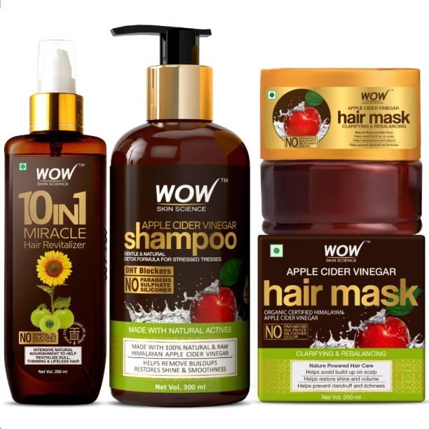 WOW SKIN SCIENCE Clear Scalp & Hair Kit - (Anti-Dandruff - Apple Cider Vinegar Shampoo + Apple Cider Vinegar Hair Mask + Hair Revitalizer) 700mL