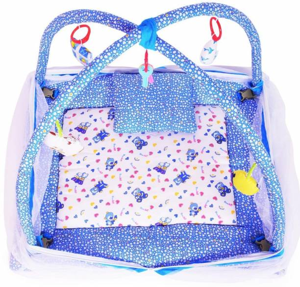 moms angel Baby Kick and Play Gym with Mosquito Net and Baby Bedding Set (Blue)