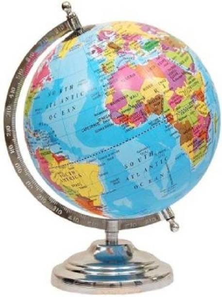 macmillan Political Educational Laminated ,8 inch Laminated Steel Finish GLOBE DESK & TABLE TOP POLITICAL Desk & Table Political World Globe