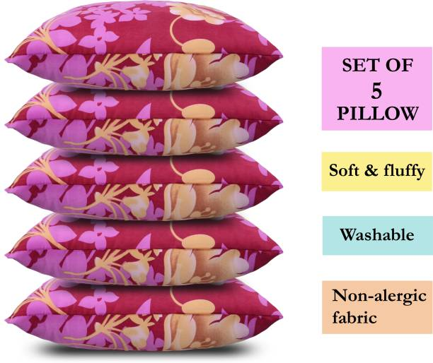 corious Microfibre Floral Sleeping Pillow Pack of 5