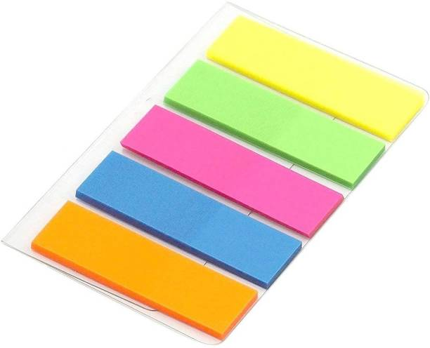DEZIINE Mini Text Highlighter Strips Neon Colored Index Tabs Flags Fluorescent Sticky Note for Marking for Page Marker 100 Sheets Regular, 5 Colors