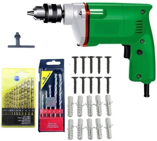 DUMDAAR 10MM Electric drill machine,13pcHSS, 5pcs Masonry Drill bits and 10 pcs use full Accessories Pistol Grip Drill