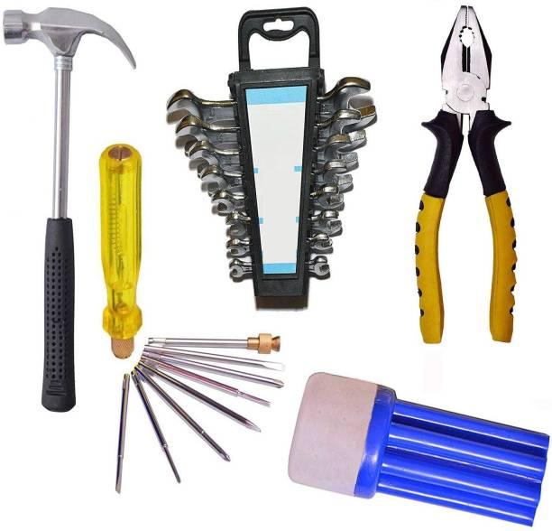 IBEX Steel Home Tool Set Iron Hammer,Screwdriver kit blue,8 Spanner set,Blue plier (19 Tools, Multicolour) Power & Hand Tool Kit