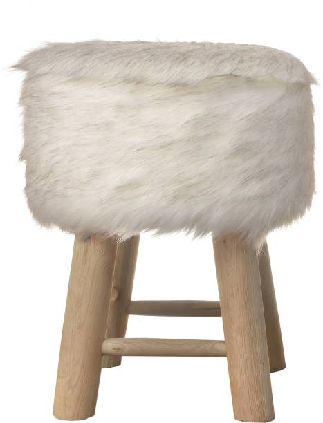 Creative Idea Wht-Hair-Pouf-4Leg Living & Bedroom Stool