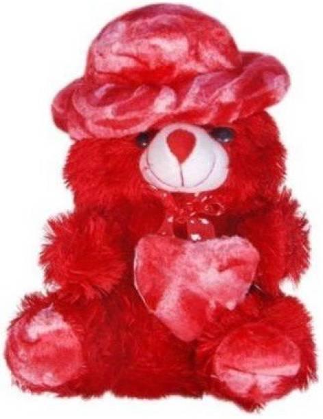 TEDDYIA CUTE BIG RED HAT TEDDY WITH HEART FOR VALENTINES, BIRTHDAY  - 30 cm