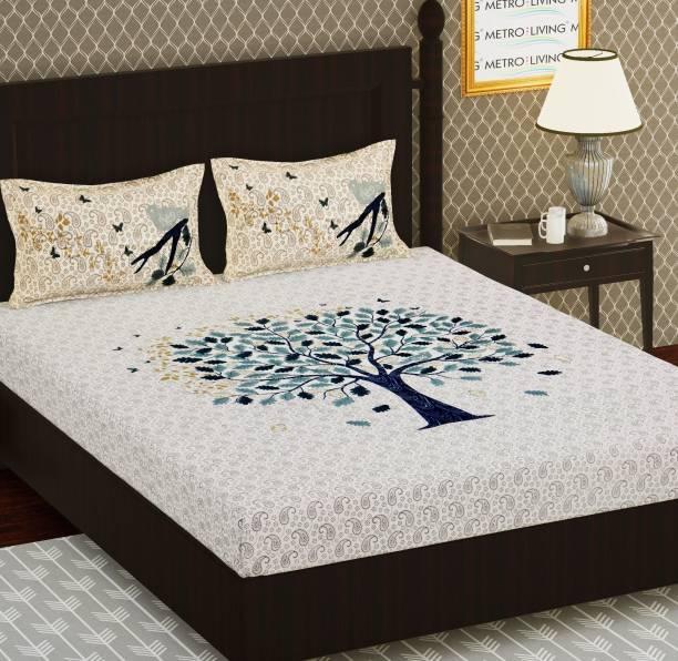 METRO LIVING 104 TC Cotton Double Floral Bedsheet