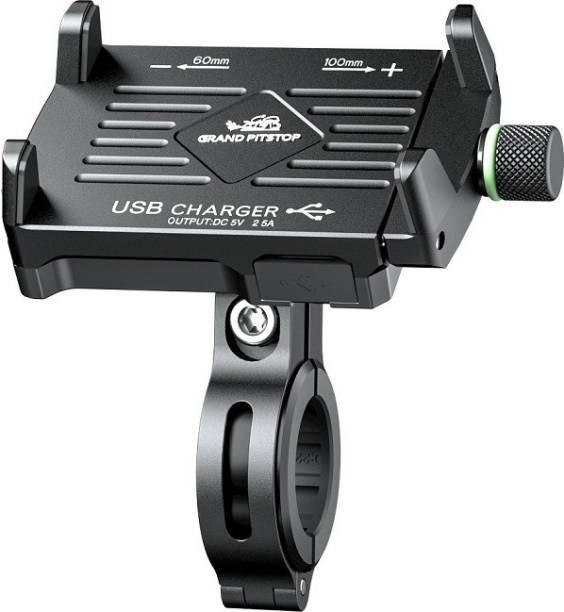 GrandPitstop Claw Grip 360 Degree Aluminium Based Mobile Holder with Charger - Adjustable Handlebar & Mirror Mount for Bike & Motorcycle Bike Mobile Holder