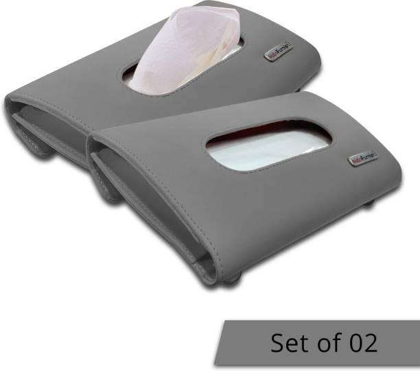 AutoFurnish Premium Car Sun Visor Tissue Holder Box with Free Tissues - Grey (Set of 2) Vehicle Tissue Dispenser
