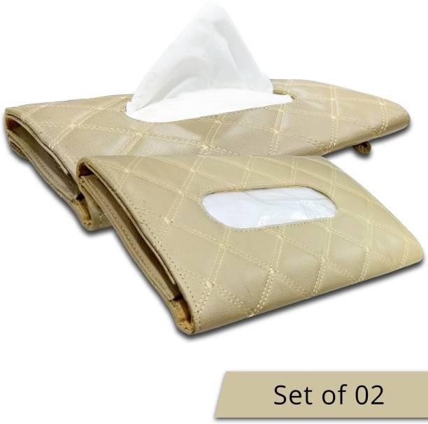 AutoFurnish 7D Car Sun Visor Tissue Holder Box Beige (Set of 2) Vehicle Tissue Dispenser