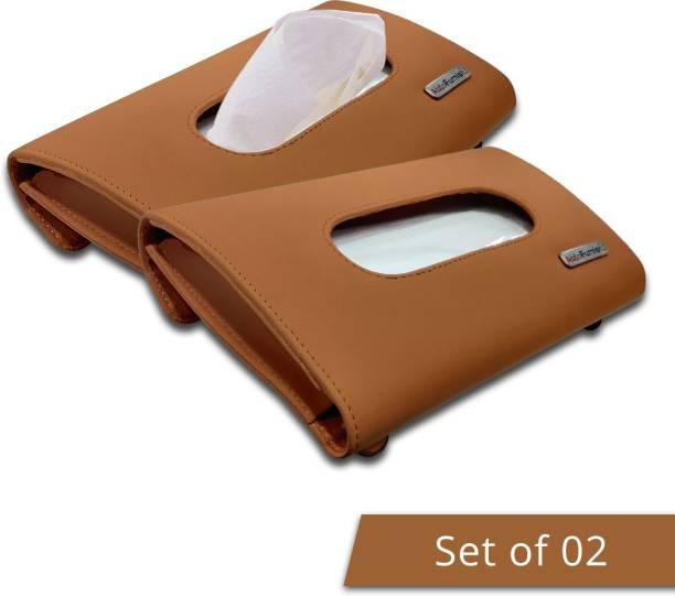 AutoFurnish Premium Car Sun Visor Tissue Holder Box with Free Tissues - TAN (Set of 2) Vehicle Tissue Dispenser