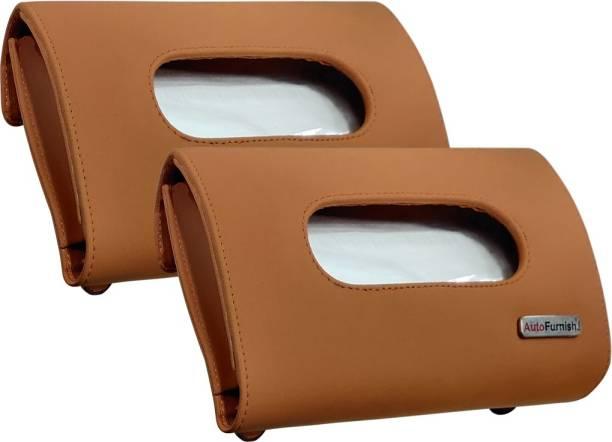 AutoFurnish Premium Car Sun Visor Tissue Holder Box with Free Tissues Tan (Set of 2) Vehicle Tissue Dispenser